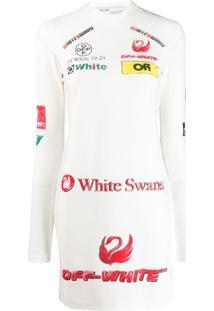 Off-White Vestido Slim Com Estampa De Logo - Branco