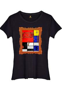 Camiseta Joss Feminina Estonada Mondrian Cat Preto