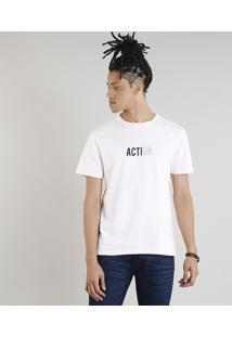 "Camiseta Masculina C2C ""Action"" Manga Curta Gola Careca Rosa Claro"