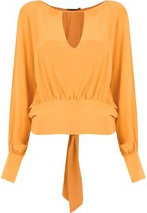 A.Brand Blusa Amarração Com Recortes - Amarelo