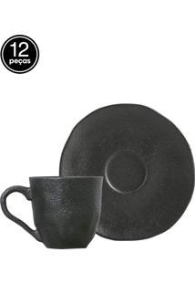 Jogo De Xícaras De Café Porto Brasil 6Pçs Carbon Preto Matte
