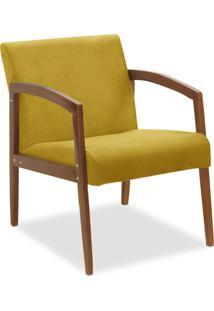 Poltrona Decorativa Malu Suede Amarelo - D'Rossi
