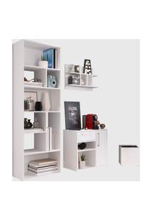 Conjunto Para Escritório 01 Livreiro/Balcáo Multiuso/Prateleira/Cachepôt Branco Modern Office E Estilare Móveis