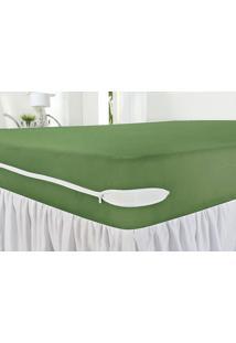 Capa Protetora De Colchão Casal Revest Verde Com 1 Peças Em Algodão - Ione Enxovais