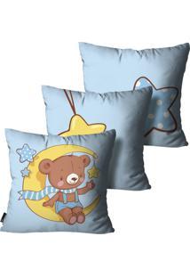 Kit Mdecore Com 3 Capas Para Almofada Infantil Urso Azul 35X35Cm