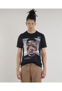 Camiseta Masculina A.E.P.O.F. + C&A By Pedro Andrade Floral Manga Curta Gola Careca Preta