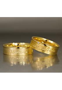 Aliança De Ouro Giratória Com Nome Personalizado - As0218