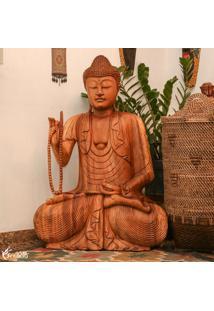 Escultura Buda C/ Japamala Em Madeira 100Cm   Bali