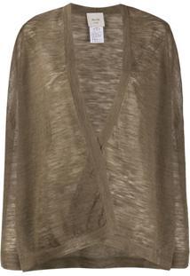 Alysi Semi-Sheer Open Front Cardigan - Marrom