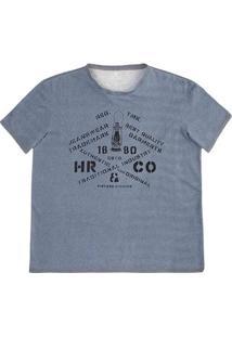 Camiseta Masculina Regular Em Malha De Algodão Com Efeito Jeans E Estampa