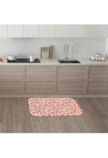 Tapete De Cozinha Mdecore Floral Rosa 40X60Cm