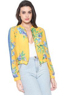 Jaqueta Bomber Lança Perfume Floral Amarela