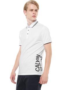 Camisa Polo Calvin Klein Jeans Reta Estampada Branca