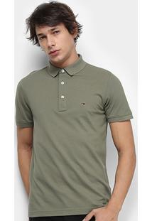 Camisa Polo Tommy Hilfiger Slim Masculina - Masculino-Verde Militar