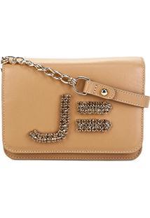Bolsa Clutch Jorge Bischoff Mini Bag Pedras Feminina - Feminino-Bege
