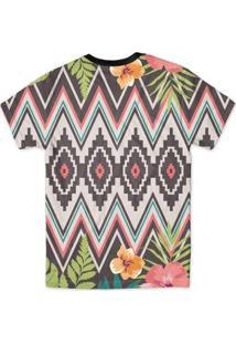Camiseta Bsc Tribal Floral Full Print - Masculino-Amarelo