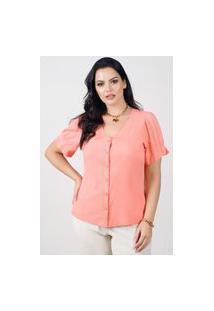 Blusa Ampla Almaria Plus Size New Umbi Botões Frontais Rosa