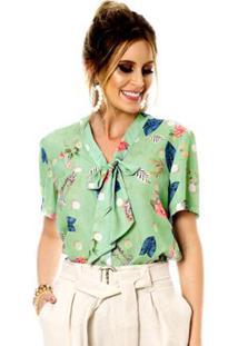 4da192cb36 ... Camisa Bisô Laço Estampada Feminina - Feminino-Verde