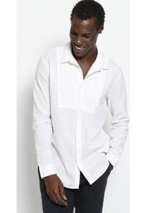 Camisa Em Linho Com Recortes - Off Whiteosklen