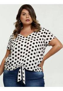 Blusa Feminina Amarração Estampa Bolinhas Plus Size