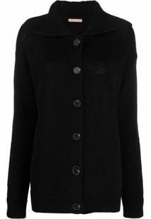 12 Storeez Spread-Collar Knitted Cardigan - Preto