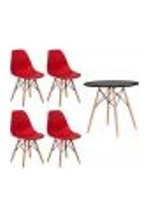 Conjunto 4 Cadeiras Eiffel Eames Vermelha + 1 Mesa Eames 80Cm Preta Base Madeira Sala Cozinha