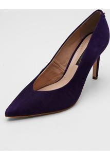 Scarpin Couro Jorge Bischoff Suede Roxo