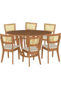 Conjunto Mesa Mona Redonda 150Cm Com 6 Cadeiras Jade Champagne Linho Bege - Gran Belo - Tricae