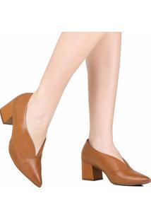 Sapato Scarpin Zariff Em Corte V Salto Grosso