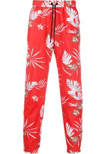 Paco Rabanne Drawstring Embroidered Trousers - Vermelho