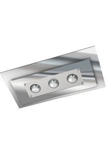 Plafon Retangular Para 3 Lâmpadas Escovado E Vidro Espelhado