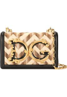 Dolce & Gabbana Baroque Logo Shoulder Bag - Marrom