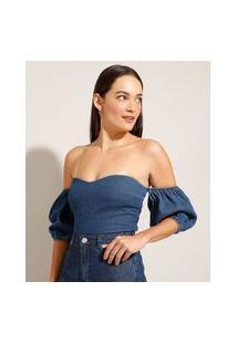 "Blusa Cropped ""Juliette"" Jeans Ombro A Ombro Manga Bufante Azul Escuro"