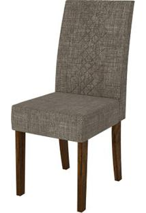Cadeira Olímpia 2 Peças - Rústico Malbec Com Linho Bronze