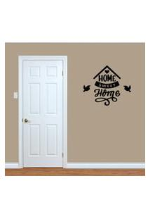 Adesivo De Parede Home Sweet Home Preto Para Sala 60X70Cm