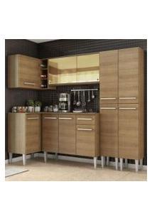 Cozinha Completa De Canto Madesa Emilly Line Com Balcão, Armário Vidro Reflex E Paneleiro Rustic Cor:Rustic