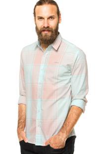 Camisa Colcci Slim Estampada Verde/Rosa
