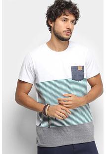 Camiseta Colcci Listrada Bolso Masculina - Masculino-Branco