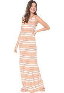 Vestido Dress To Longo Listrado Bege/Off-White