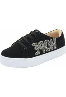 Tenis Hope Shoes Pedraria Hope Preto