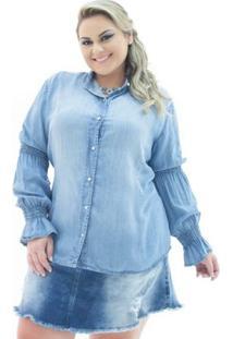 Camisa Jeans Confidencial Extra Manga Longa Flare Plus Size Feminina - Feminino-Azul