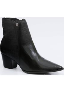 Bota Feminina Ankle Boot Textura Croco Bottero