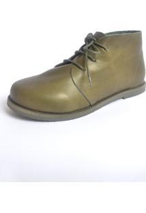Botinha S2 Shoes Maria Couro Verde Militar