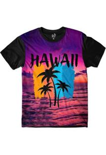 Camiseta Long Beach Hawaii Purple Sky Sublimada Masculina - Masculino-Roxo+Preto
