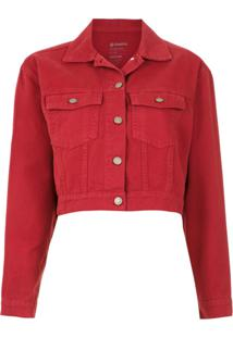 Osklen Jaqueta Jeans Cropped - Vermelho