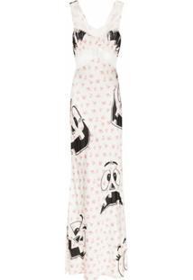 Moschino Vestido Longo Com Acabamento De Renda E Estampa De Flores E Aboboras - Branco