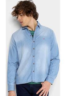 Camisa Jeans Replay Manga Longa Masculina - Masculino-Azul Claro