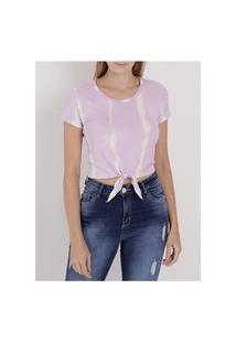 Blusa Cropped Tye Dye Autentique Feminina Lilás