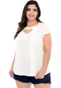 Blusa Forma Rara Plus Size Decote Perolado Off-White-58 - Off-White - Feminino - Dafiti