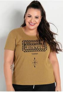 Blusa Mescla Amarela Com Estampa Plus Size